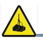 Señal advertencia solo imagen peligro cargas suspendidas 105X105