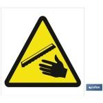 Señal advertencia peligro cuidado manos 148X148