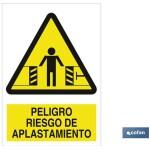 Señal PELIGRO RIESGO APLASTAMIENTO Poliestireno 148×105