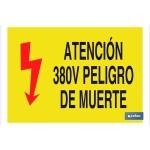 Señal advertencia con texto e imagen atención 380V peligro de muerte 297X210
