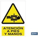 Señal advertencia atención pies y manos 210×148