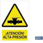 Señal advertencia peligro alta presión 210×148