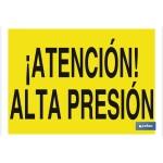 Señal advertencia peligro con texto de alta presión 420X297
