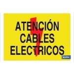 Señal advertencia con imagen y texto atención cables eléctricos 297X210