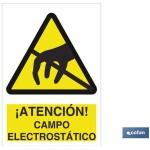 Señal advertencia peligro campo electroest?tico 210×148