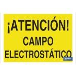 Señal advertencia peligro con texto campo electroest?tico 297X210