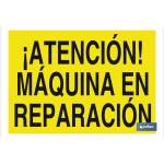 Señal advertencia peligro con texto máquina en reparaci?n 420X297