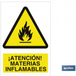 Señal advertencia peligro materias inflamables 210×148