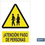 Señal advertencia atención paso de personas 148X105