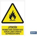 Señal ATENCION PROHIBIDO FUMAR ENCENDER FUEGO ACERCAR LLAMAS O APARATOS QUE PRODUZCAN CHISPAS Poliestireno 148X105