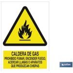 Señal advertencia caldera de gas prohibido encender fuego acercar llamas o aparatos que produzcan chispas 210×148