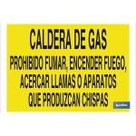 Señal advertencia con texto caldera de gas prohibido fumar encender fuego acercar llamas o aparatos que produzcan chispas 420X297