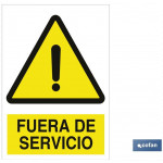 Señal advertencia con imagen  Fuera de servicio 210×148