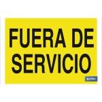 Señal advertencia con texto Fuera de servicio 297X210