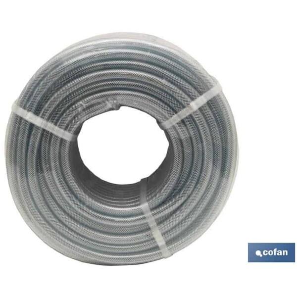 MANGUERA PVC CRISTAL C/REFUERZO 10x16mm/50m