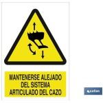 Señal advertencia mantenerse alejado del sistema articulado de cazo 297X210
