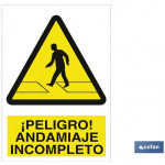 Señal advertencia peligro andamiaje incompleto 420X297