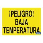 Señal advertencia peligro con texto baja temperatura 420X297