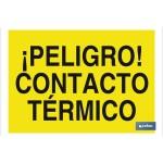 Señal advertencia peligro con texto contacto t?rmico 297X210