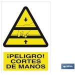 Señal advertencia peligro cortes de manos 297X210