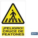 Señal advertencia peligro cruce de peatones 210X210