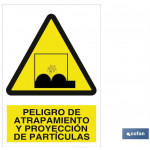 Señal advertencia peligro de atrapamientos y proyecci?n de part?culas 210×148