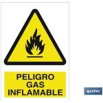 Señal PELIGRO GAS INFLAMABLE Poliestireno 420X297