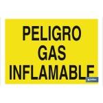 Señal advertencia con texto peligro gas inflamable 420X297