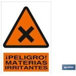 Señal advertencia peligro materias irritantes 210×148