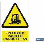 Señal advertencia peligro paso de carretillas 148X105