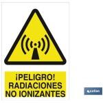 Señal advertencia peligro radiaciones no ionizantes 420X297