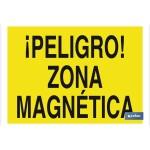 Señal advertencia peligro con texto zona magn?tica 420X297