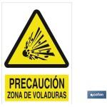 Señal PELIGRO ZONA DE VOLADURAS Poliestireno 420X297