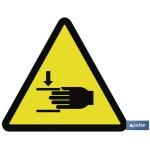 Señal advertencia Peligro atrapamiento 148X148