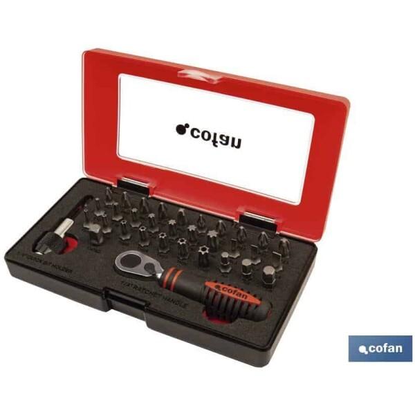 SET MINI CARRACA 1/4″ CON PUNTAS (33 PCS.)