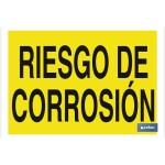 Señal advertencia con texto riesgo de corrosi?n 297X210