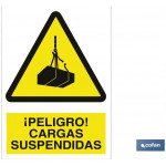 Señal advertencia peligro cargas suspendidas 148X105
