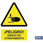 Señal advertencia peligro riesgo de atrapamiento 210×148
