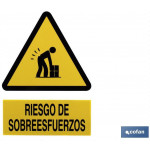 Señal PELIGRO RIESGO DE SOBREESFUERZOS Poliestireno 210×148