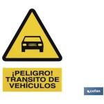 Señal PELIGRO TRANSITO DE VEHICULOS Poliestireno 297X210
