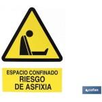 Señal PELIGRO RIESGO DE ASFIXIA  Poliestireno 148X105
