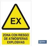 Señal advertencia de zona con riesgo de atm?sferas explosivas 210×148