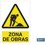 Señal advertencia zona de obras 420X297
