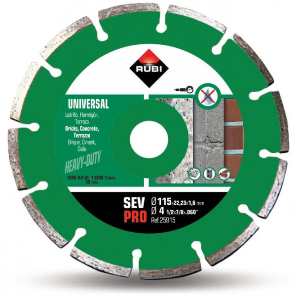Disco corte diamante general obra SEGMENTADO SEV-115 a 230 PRO