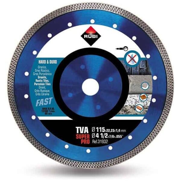 Disco de corte diamante material duro TURBO VIPER TVA-115 a 230 SUPERPRO