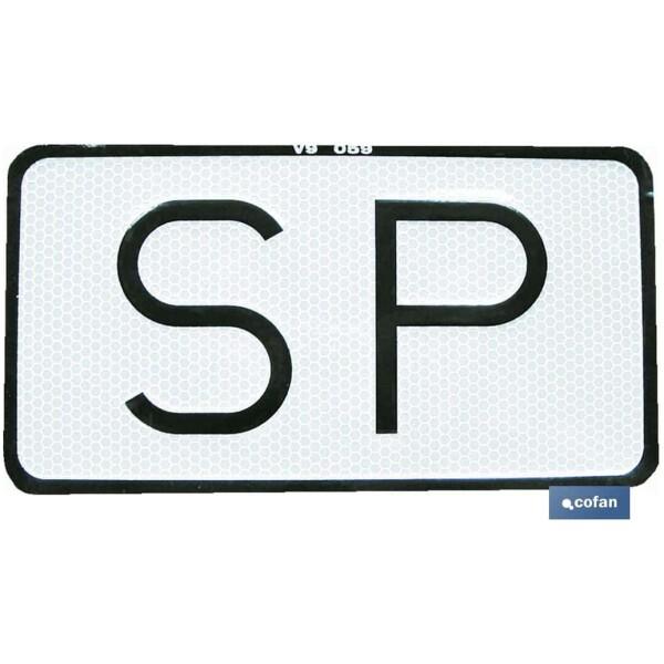 PLACA «SP» V-9 SERVICIO PUBLICO 15X7,5CM