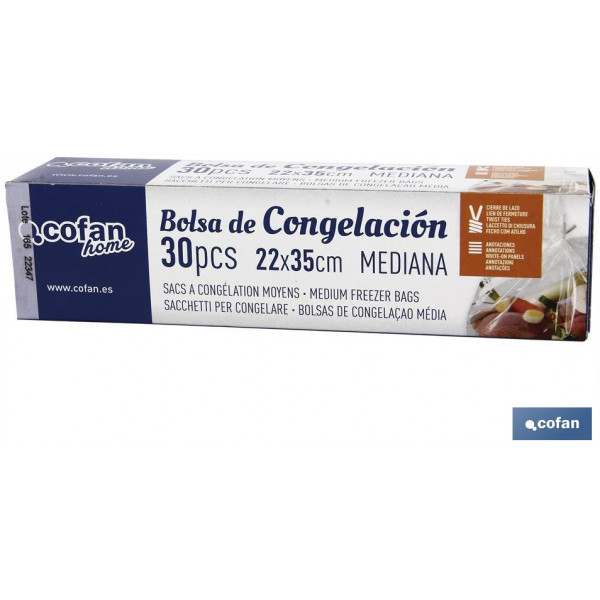 BOLSAS DE CONGELACIÓN MEDIANA 22X35 30UDS